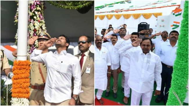 KCR and YSJ at their respective flag hoisting ceremoneys - Sakshi Post