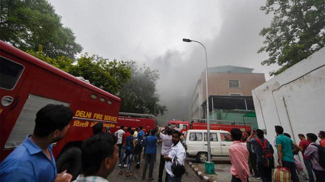 A fire broke out at the AIIMS here on Saturday evening and 22 fire tenders were rushed to the site. - Sakshi Post