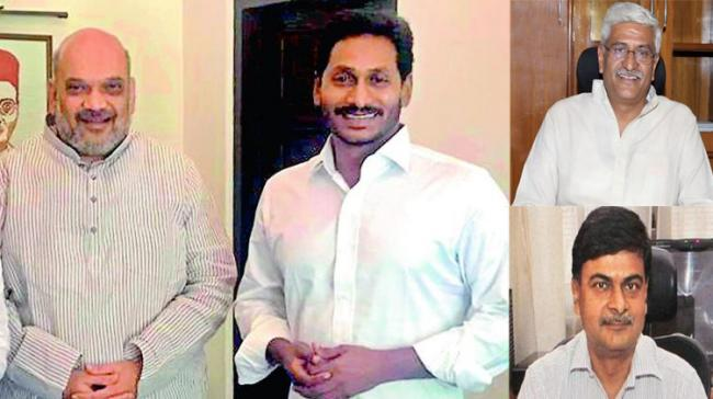 File Photos of YS Jagan with Amit Shah Inset: WaterMinister Gajendra Singh Shekhawat and Power Minister RK Singh - Sakshi Post