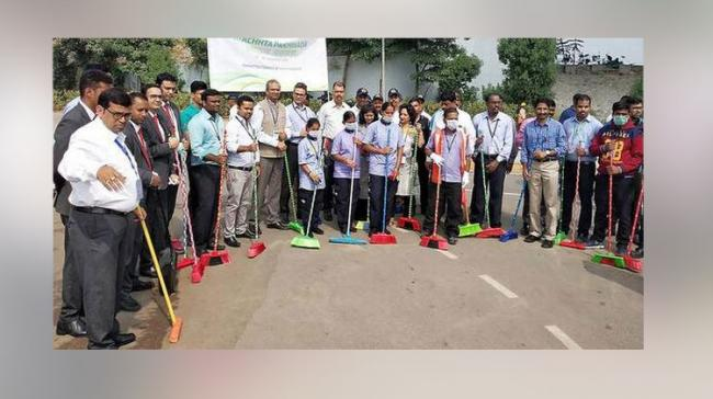RGIA Officials and staff taking part in the campaign - Sakshi Post