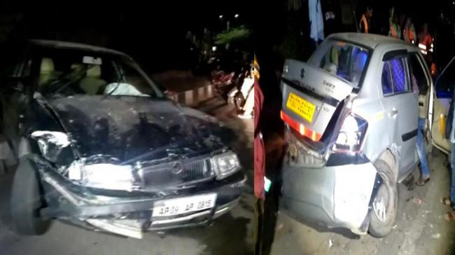 A speeding car rammed into another car which was parked on the roadside - Sakshi Post