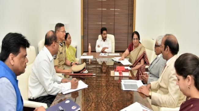 Ys Jagan Mohan Reddy talking to the officials on Thursday during the review meeting on implementation of Disha Ac - Sakshi Post