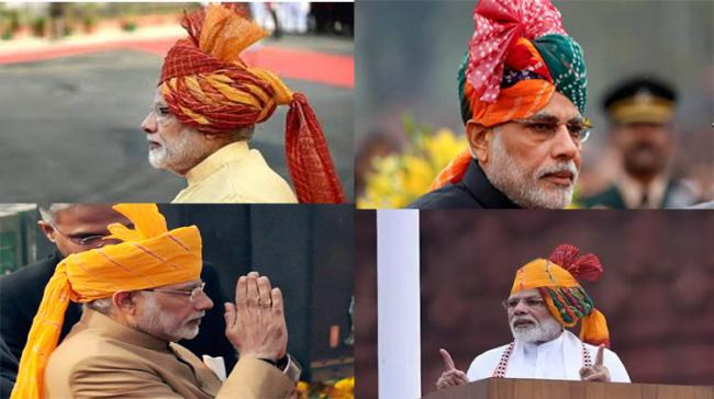 PM Modi is known for his colorful turbans during national festivals - Sakshi Post
