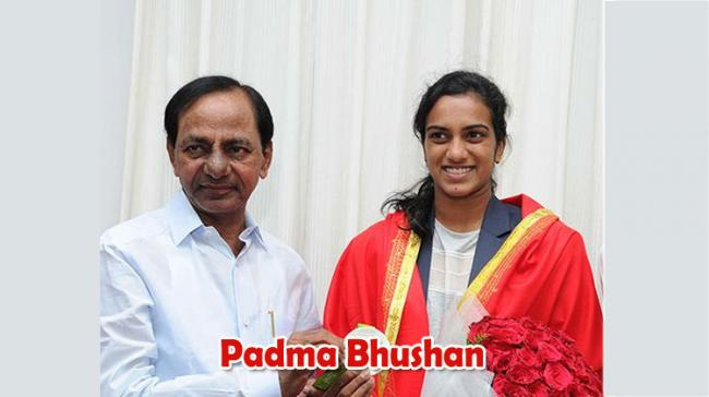File Photo of KCR with PV Sindhu - Sakshi Post