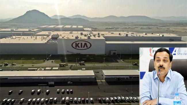 File Photo:Kia Plant in Anantapur Inset: Rajath Bhargava, AP Special Chief Secretary Industries and Investments and Commerce - Sakshi Post