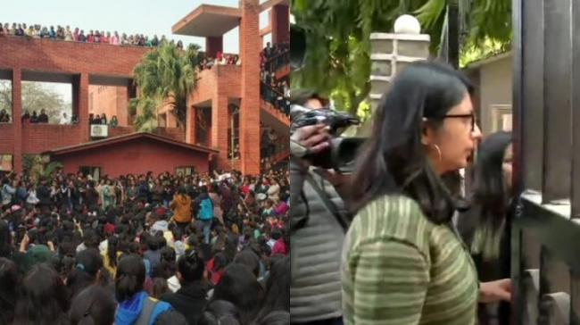 Delhi Commission for Women (DCW) chief Swati Maliwal has reached the spot to take stock of the situation in Gargi College - Sakshi Post