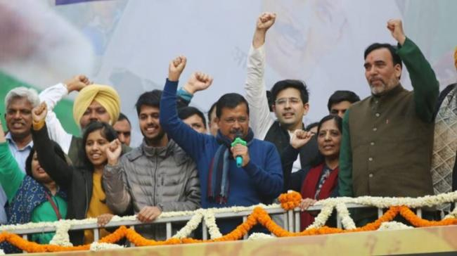 Arvind Kejriwal addressing supporters after winning a landslide victory. - Sakshi Post