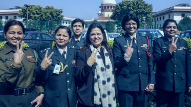 Women officers outside Parliament - Sakshi Post
