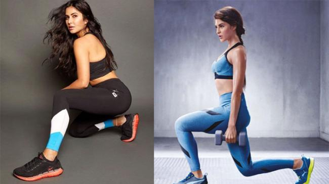 Katrina Kaif and Jacqueline Fernandez giving fitness goals - Sakshi Post