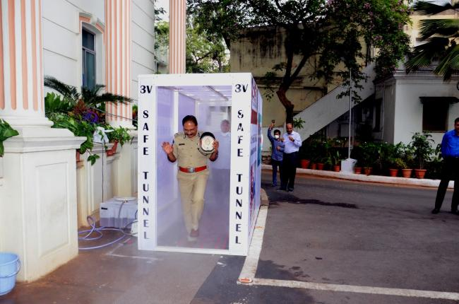 Director General of Police Mahender Reddy walked through the tunnel to formally inaugurate it. - Sakshi Post