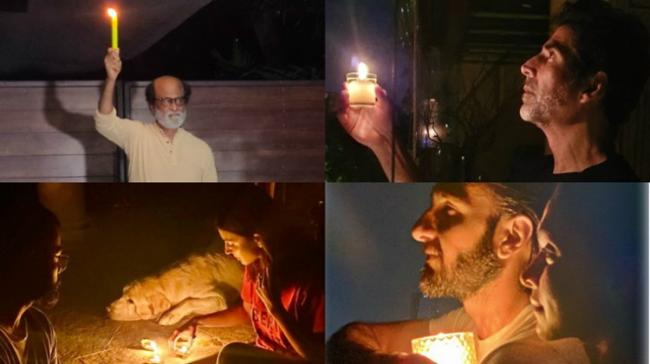 B-town stars switched off lights in their homes and came to their balconies with diyas and candles - Sakshi Post