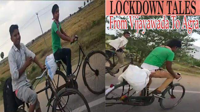 : 4 Migrant Workers 1,600 Kms Bicycle Journey From AP To Agra - Sakshi Post