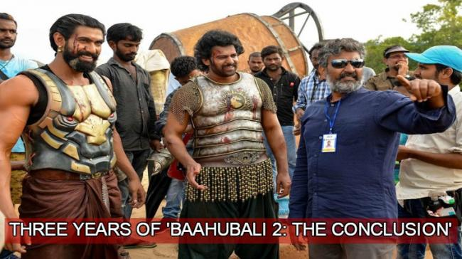 A behind-the-scene picture featuring Prabhas with co-star Rana Daggubati and filmmaker Rajamouli - Sakshi Post
