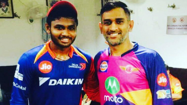 Sanju Samson and MS Dhoni ( Image Source: Twitter) - Sakshi Post