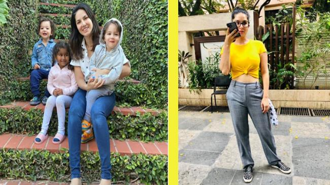 Sunny Leone with her three children - Sakshi Post