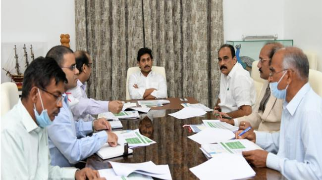 AP CM YS Jagan with Minister of Forest and Environment, Balineni Srinivasa Reddy, Special Chief Secretary Neerab Kumar Prasad, Andhra Pradesh Pollution Control Board (PCB) member Vivek Yadav and other officials. - Sakshi Post