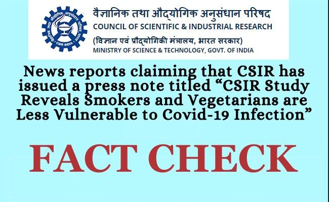 Smokers, vegetarians less likely to get Covid: CSIR Report is Fake - Sakshi Post