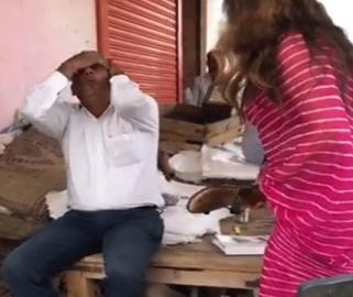BJP's TikTok Celebrity Sonali Phogat Slapping Market Committee secretary Sultan Singh with slipper in Hisar, Haryana - Sakshi Post